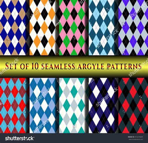 diamond pattern golf socks set ten seamless argyle patterns traditional stock vector