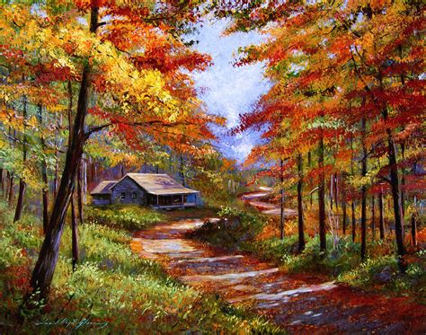 Peacock Park Home Decor Cabin In The Woods Painting By David Lloyd Glover