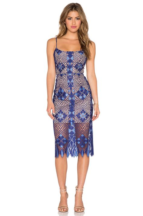 Blue Dress Blue Rsby 1496 lyst bcbgmaxazria sheer lace dress in blue