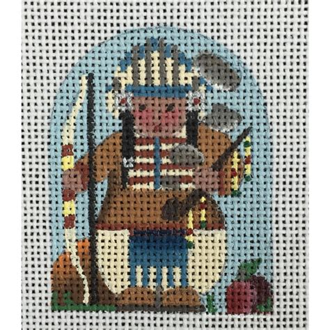canvas 37x30x8 ceo 437 thanksgiving thimble indian chief nashville needleworks