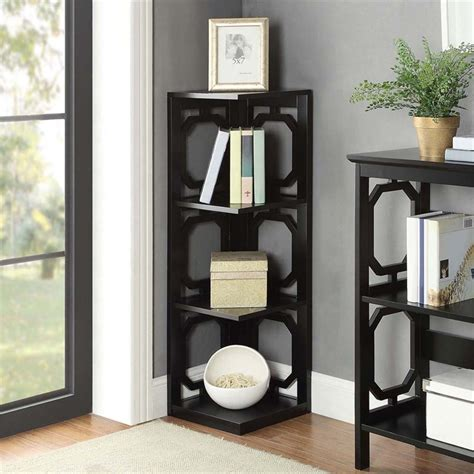 3 Shelf Corner Bookcase 3 Shelf Corner Bookcase In Black 203270bl