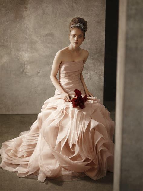 blush pink strapless bridal gown  white  vera wang