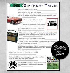 1948 Birthday Trivia Game   70TH Birthday Party Trivia