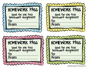 free homework pass template free no homework and late homework passes tpt