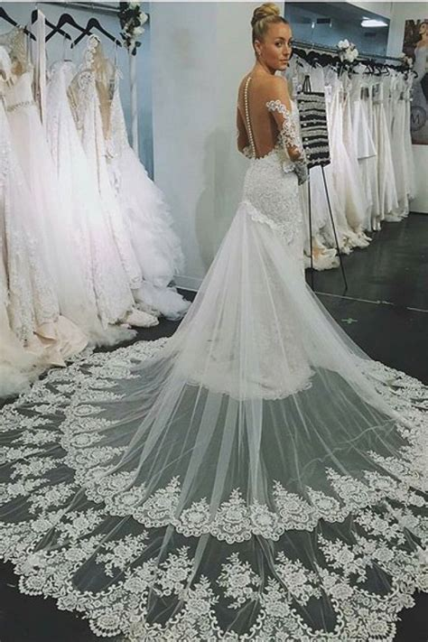 Sexy Lace Wedding Dress 2018 with Detachable Court Train