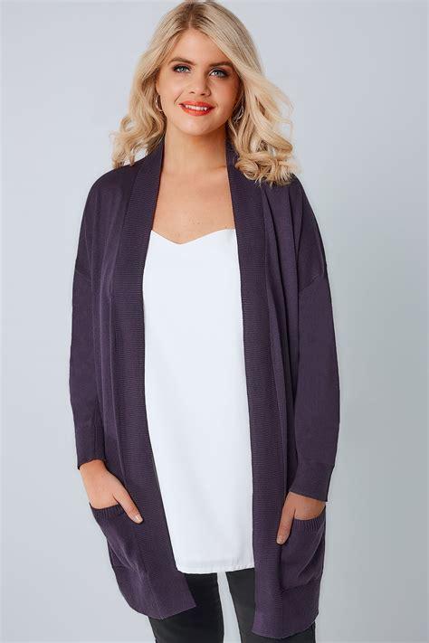 plus size knit with pockets purple knit edge to edge rib trim cardigan with