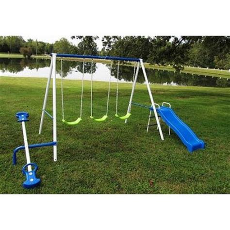 metal swing sets at walmart flexible flyer big time fun metal swing set walmart com