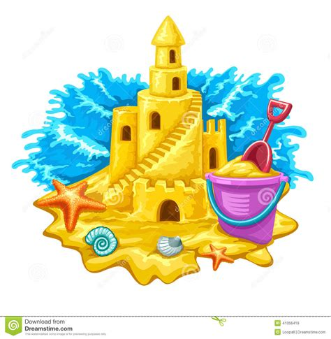 Sand Castle With Childs Toys And Blue Waves On Background