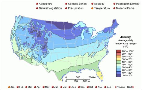 average temperature map usa january grolier atlas