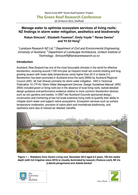 living arc green roofs manage water to optimise ecosystem services of living