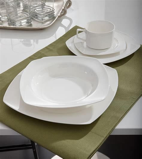 Patio Tableware Bone China Square Dinnerware Set Inspired Style Better