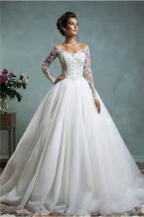 ball gown off the shoulder tulle lace wedding dress