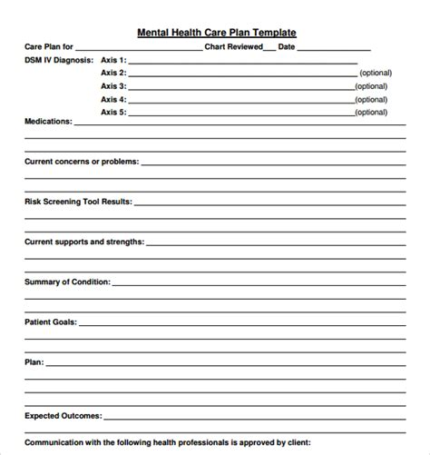 10 Health Plan Templates Sle Templates Psychiatric Template Pdf