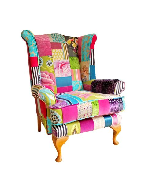 Patchwork Wing Chair - bespoke wingback patchwork chair fulham bloom