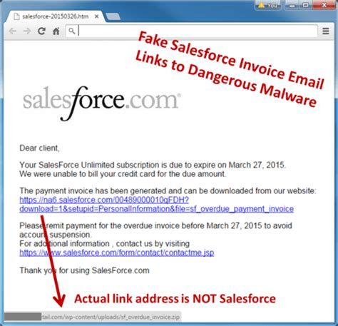 Salesforce Invoice Spam Email Alert Spam Warning Email Template