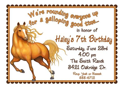 free printable birthday invitations with horses personalized birthday invitations horse western wild west