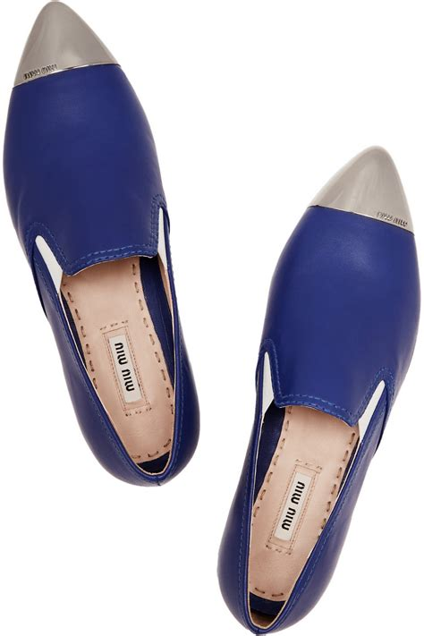 Miu Miu Metal Toe Slip On lyst miu miu leather point toe slip on sneakers in blue