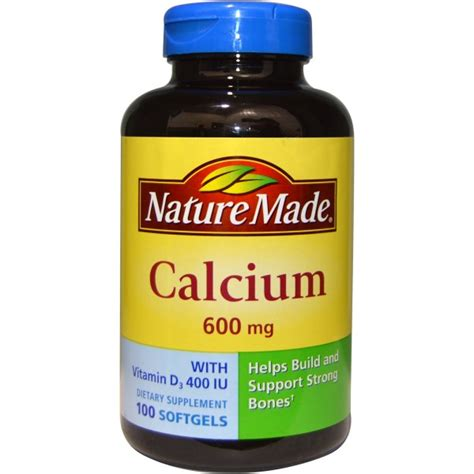 k supplement 600 mg nature made calcium with vitamin d3 400 iu 600 mg 100