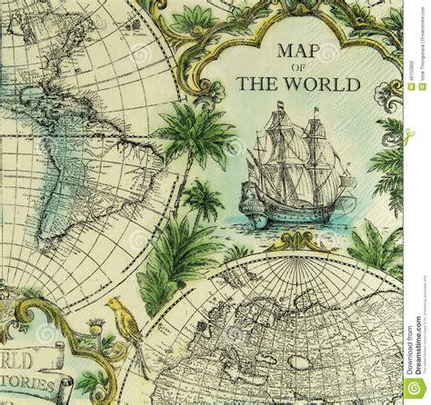 vintage map pattern beautiful vintage map of the world pattern on napkin stock