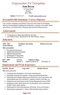 copywriter resume template copywriter cv template 1