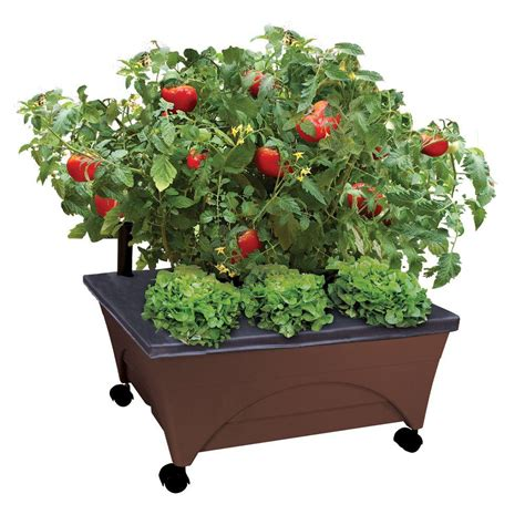 city pickers patio garden city pickers 24 5 in x 20 5 in patio raised garden bed kit with watering system and casters in