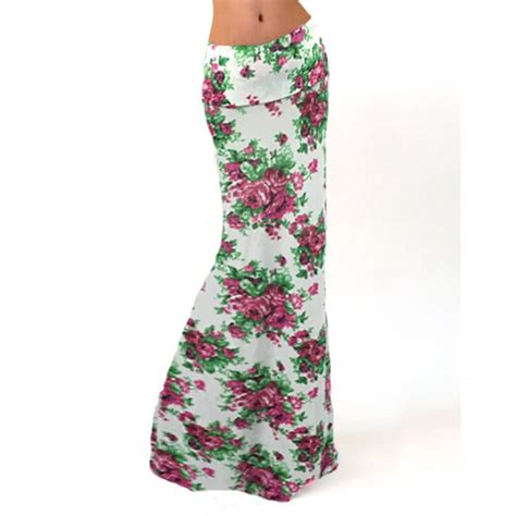 cheap white colorful flower maxi skirt for