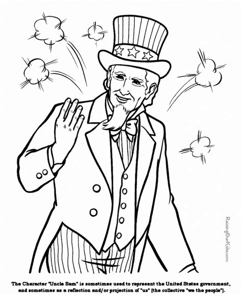 coloring page uncle sam patriotic symbols uncle sam coloring page 001