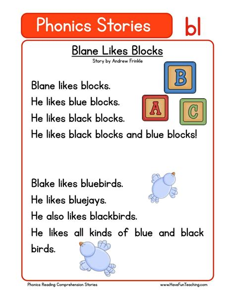 phonics words stories bl reading comprehension worksheet