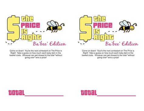 Baby Shower Price Is Right Logo by Sassy Sanctuary Ba Bee Shower Week The Free