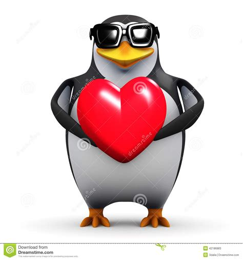 Cool Bird House Plans 3d Penguin Holds A Red Heart Stock Illustration Image