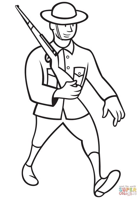 coloring pictures of world war 1 ww1 british soldier marching with rifle coloring page