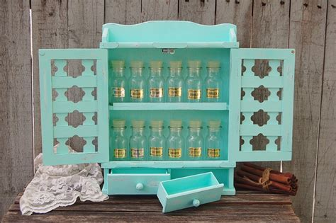 Shabby Chic Spice Rack spice rack spice cabinet bottles jars shabby chic mint