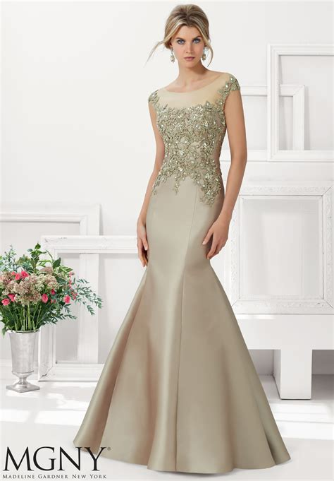 Evening Gown larissa satin evening gown beaded lace appliques morilee