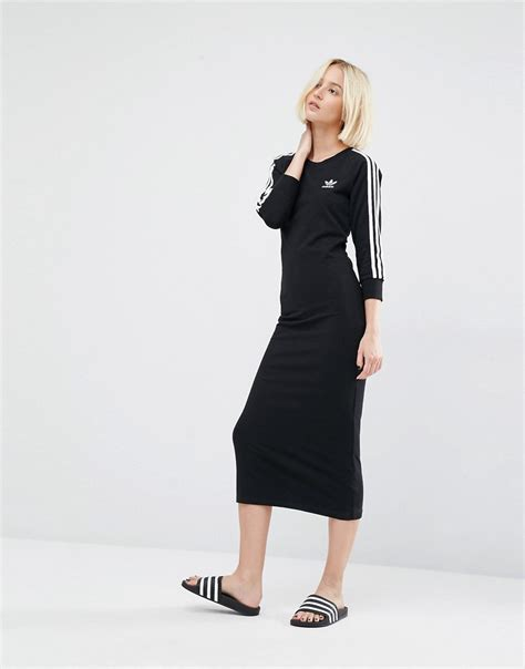 Adidas Maxi Dress adidas originals originals three stripe maxi dress black
