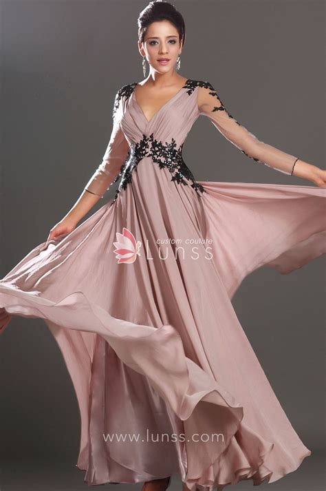 Sheer Long Sleeve V Neck A Line Long Popular Semi Formal Design Your Own Semi Formal Dress