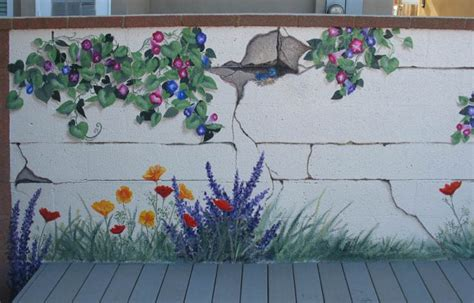 garden wall paint ideas garden mural what a great idea no watering or worrying
