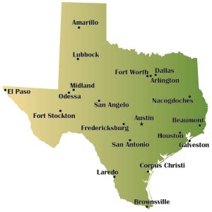 map of texas including cities texas wikitravel