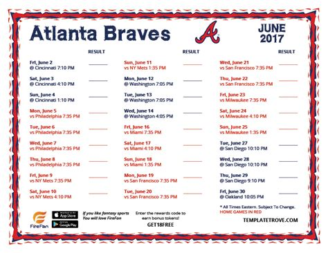 printable schedule for atlanta braves printable 2017 atlanta braves schedule