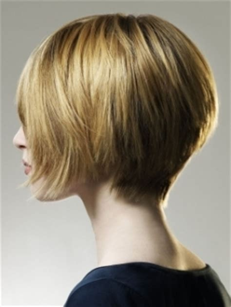 back of short inverted bob with sides behind ears short layered haircuts for women