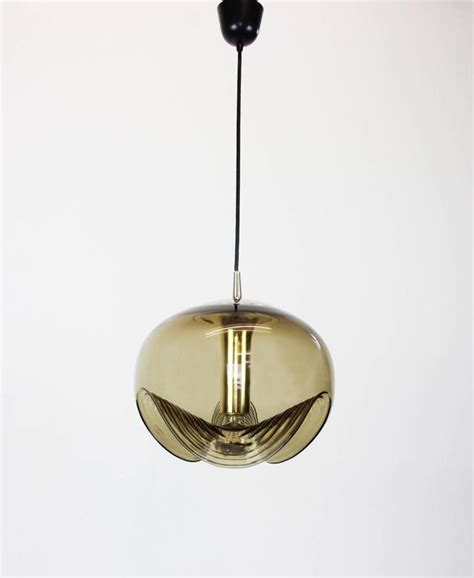 Smoked Glass Pendant Light Large Smoked Glass Pendant Light By Koch And Lowy Peill And Putzler Germany 1970 At 1stdibs
