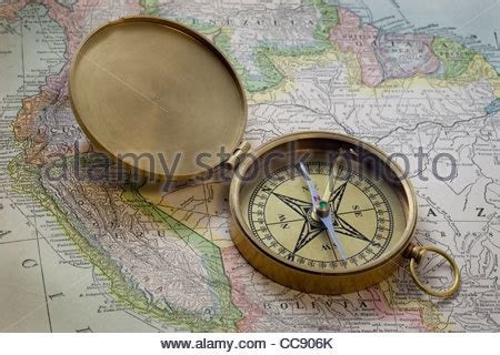 map of usa with compass antique brass compass usa map stock photo