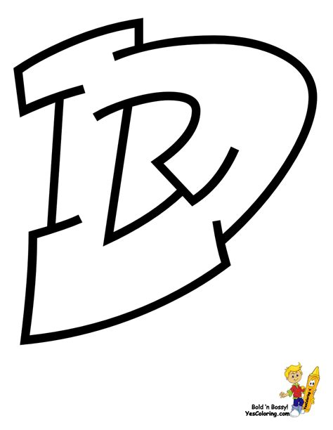 free coloring pages of graffiti letter d