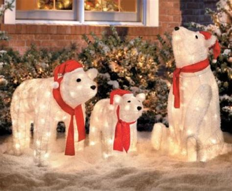 set of 3 lighted christmas santa polar bears display