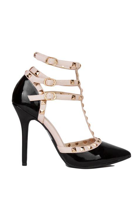 Tas Vintage Slop Stud Black t studded black patent heels in black lyst