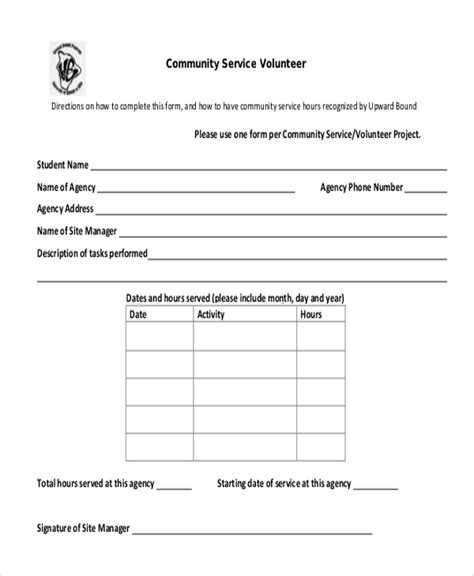 Sle Community Service Form 10 Free Documents In Pdf Community Service Form Template