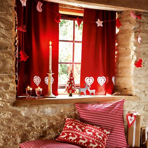 Red And White Gingham Kitchen Curtains by Make Felt Curtains Handmade Christmas Decorating Ideas