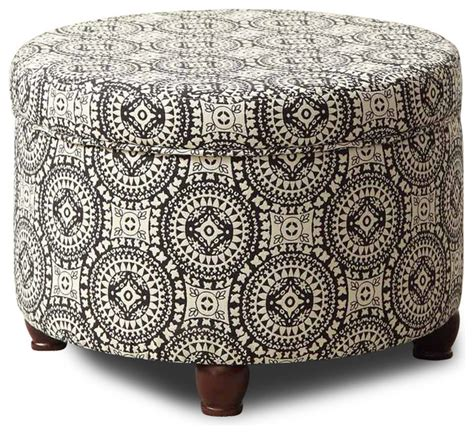 black and white ottoman black white medallion suzani large round storage ottoman