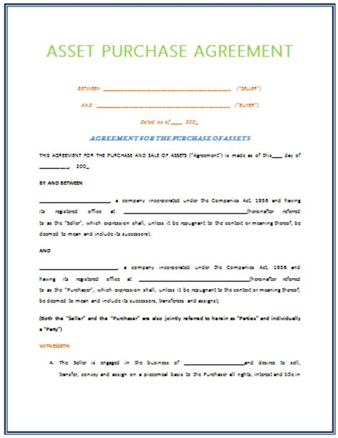 Asset Purchase Agreement Template asset purchase agreement template for 2015