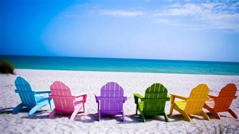 wallpapers beach colorful colorful beach chairs wallpaper hd wallpaper wallpaperfx