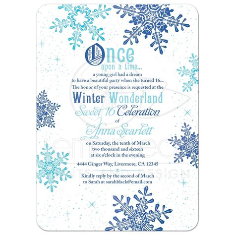 free template invitation card snowflakes winter sweet 16 invitation once upon a time